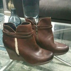 UGG Stout Brown Leather Wedge Booties